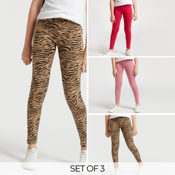 Set of 3 - Assorted Ankle Length Leggings with Elasticated Waistband