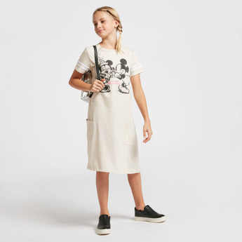 Minnie & Mickey Mouse Print Dress with Short Sleeves and Pockets
