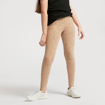 Polka Dots Print Leggings with Elasticised Waistband