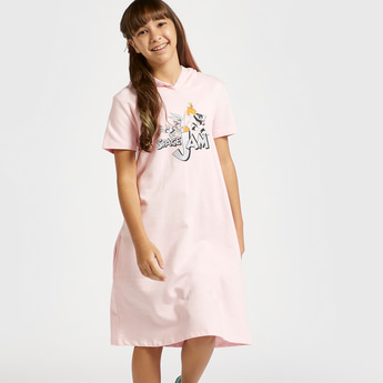 Looney Tunes Graphic Print Sweat Dress with Short Sleeves and Hood