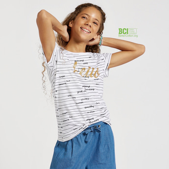 Hello Print T-shirt with Short Sleeves and Stripe Detail