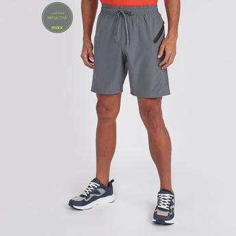 Textured Reflective Shorts with Pocket Detail and Drawstring