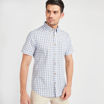 Checked Shirt with Short Sleeves and Spread Collar