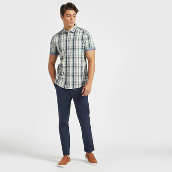 Checked Regular Fit Collared Shirt with Short Sleeves