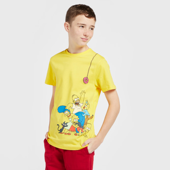 Simpsons Print T-shirt with Round Neck and Short Sleeves
