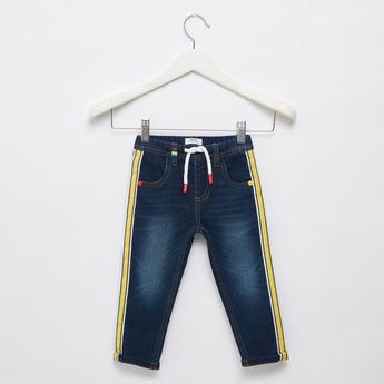 Full Length Jeans with Pockets and Elasticated Drawstring Waistband