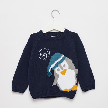 Arctic Penguin Print Round Neck Sweater with Long Sleeves