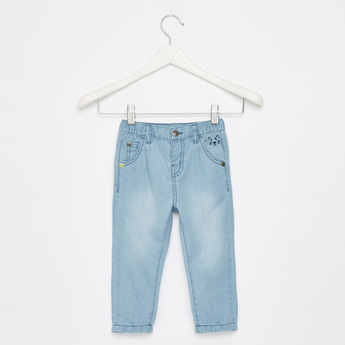 Embroidered Jeans with Pockets and Elasticised Waistband