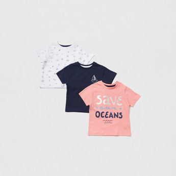 Pack of 3 - Printed T-shirt with Round Neck and Short Sleeves