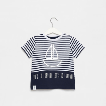 Nautical Striped T-shirt with Round Neck and Short Sleeves