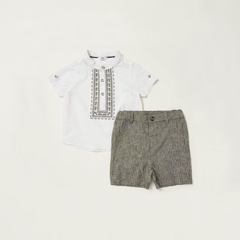 Embroidered Detail Mandarin Collar Shirt with Striped Shorts Set