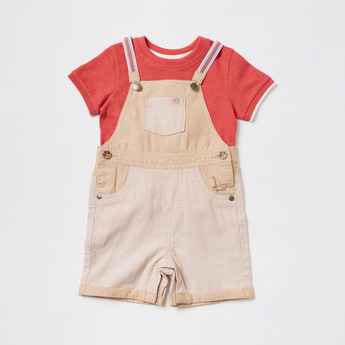 Textured Short Sleeves T-shirt and Dungaree Set