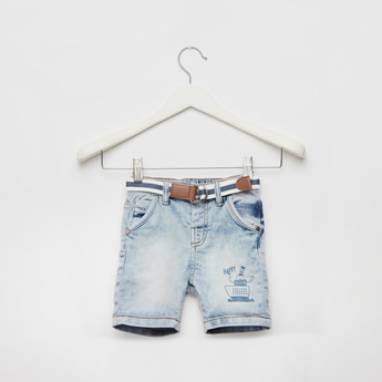 Printed Denim Shorts with Belt and Pockets