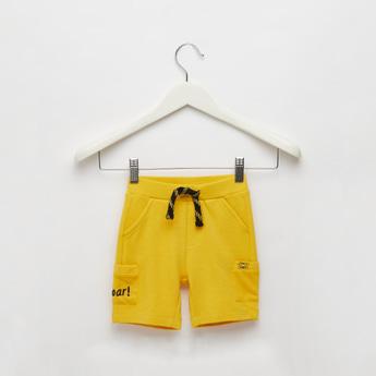 Textured Shorts with Mesh Pockets and Drawstring Closure