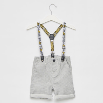 Checked Suspender Shorts with Pockets and Upturned Hems