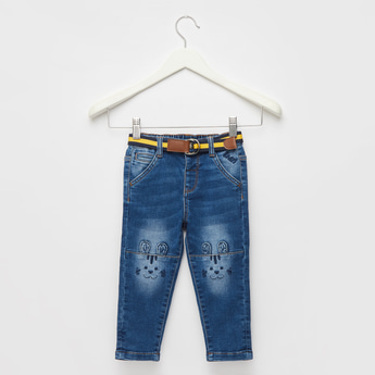 Textured Jeans with Pocket Detail and Belt