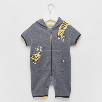 Applique Detail Romper with Hood and Front Zipper