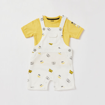 Applique Detail Round Neck T-shirt and Printed Dungaree Set