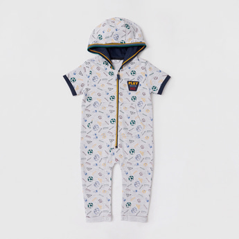 All-Over Print Romper with Hood and Short Sleeves