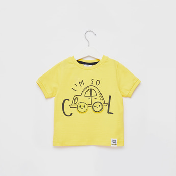 Graphic Print T-shirt with Round Neck and Applique Detail