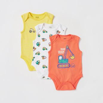 Set of 3 - Printed Round Neck Sleeveless Bodysuit