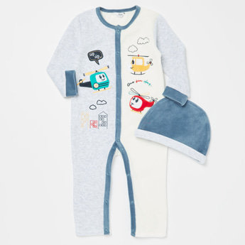 Embroidered Long Sleeves Open Feet Sleepsuit with Textured Cap