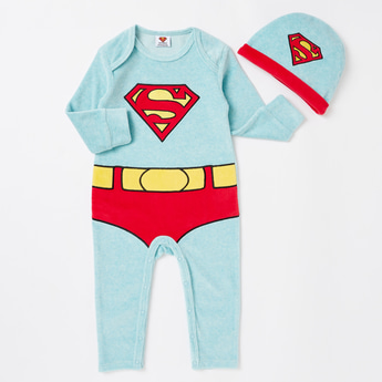 Superman Print Full Length Sleepsuit with Cap