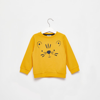 Animal Graphic Print Sweatshirt with Round Neck and Long Sleeves