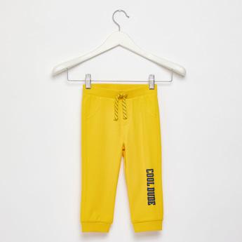 Text Print Jog Pants with Pocket Detail and Drawstring Closure