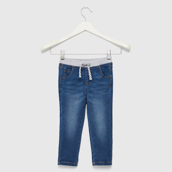 Comfort Fit Full Length Jeans with Elasticated Drawstring Waistband