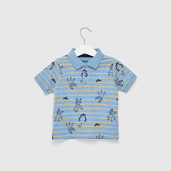 All-Over Print Collared Neck Polo T-shirt with Short Sleeves