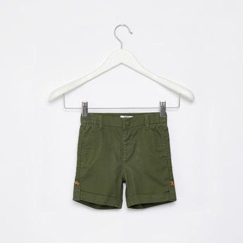 Solid Twill Shorts with Slip-On Pockets
