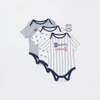 Set of 3 - Football Themed Print Round Neck Bodysuit