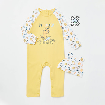 Printed Organic Round Neck Sleepsuit with Cap