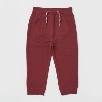 Textured Full-Length Jog Pants with Drawstring Closure