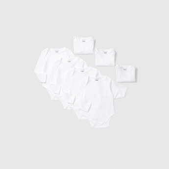 Set of 7 - Solid Bodysuit with Round Neck and Long Sleeves