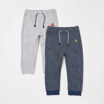 Pack of 2 - Textured Jog Pants with Embroidery and Drawstring