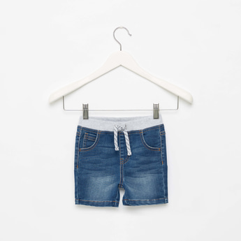 Textured Denim Shorts with Pockets and Drawstring Closure