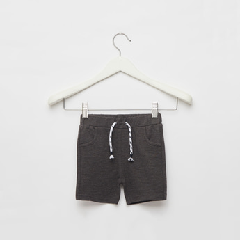 Textured Shorts with Elasticised Waistband and Drawstring Closure