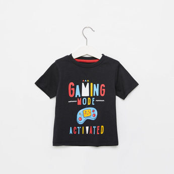 Gaming Print Round Neck T-shirt with Short Sleeves