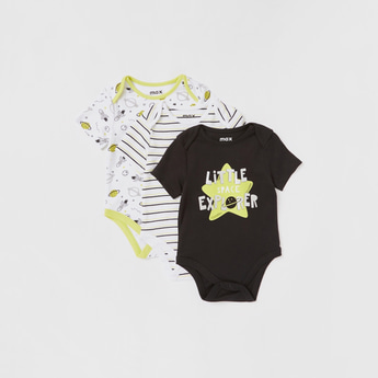 Set of 3 - Printed Bodysuit with Round Neck and Short Sleeves
