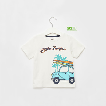 Surf Crew Print T-shirt with Round Neck and Short Sleeves
