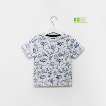 Animal Graphic Print T-shirt with Round Neck and Short Sleeves