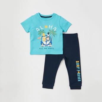 Printed Organic Round Neck T-shirt and Pyjama Set