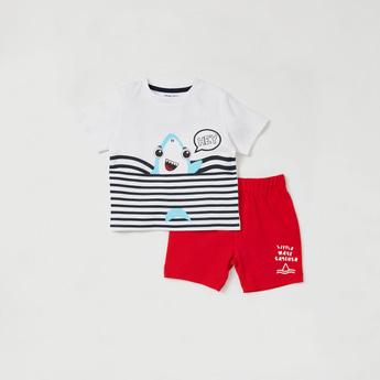 Shark Graphic Print T-shirt and Shorts Set