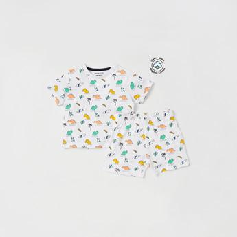 All-Over Print Short Sleeves T-shirt and Shorts Set