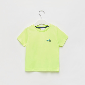Embroidery Detail Round Neck T-shirt with Short Sleeves