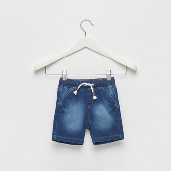 Solid Denim Mid-Rise Shorts with Elasticated Waist and Pockets