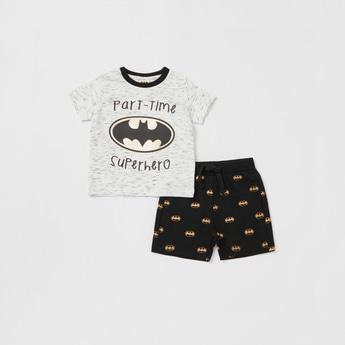 Batman Print Round Neck T-shirt and Shorts Set