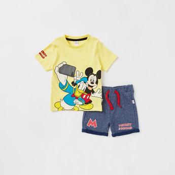 Mickey & Donald Graphic Print T-shirt and Shorts Set